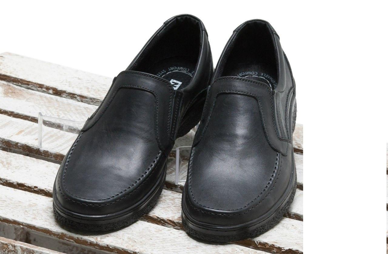 Мужские туфли черного цвета из натуральной кожи от производителя, размер 40,44