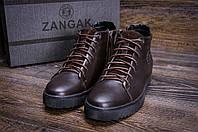 Мужские ботинки коричневого цвета на шнуровке зимние
