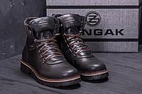 Коричневые мужские ботинки, сапоги зимние кожаные