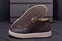 Высокие мужские ботинки, кеды кожаные на меху