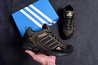 Спортивная мужска обувь, кроссовки мужские из натуральной кожи цвета хаки Adidas (реплика)
