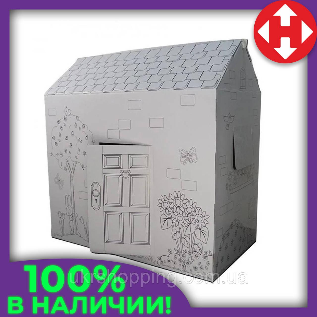 Раскраска домик, 94х100х56 см. Дерево и цветы, это, картонный домик, для детей. Доставим по Украине