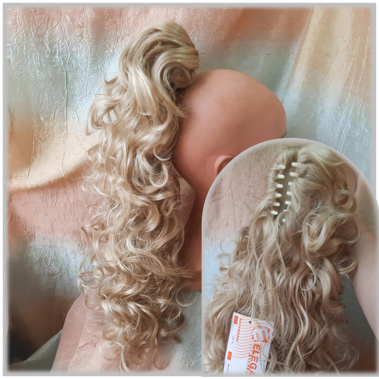 Хвост шиньон кудрявый на крабе пшеничный блонд Т88-24Н613 ELEGANT