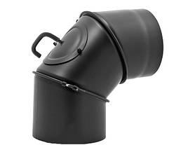 Регулируемое колено для дымохода с шибером и с ревизией DARCO 120/90 из стали черное