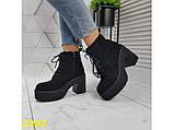 Ботинки на низком широком каблуке с платформой 38, 40 р. (2302), фото 3