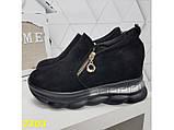 Сникерсы кроссовки черные с танкеткой на платформе со змейкой 36, 37, 38, 39, 41 р. (2303), фото 3