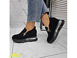 Сникерсы кроссовки черные с танкеткой на платформе со змейкой 36, 37, 38, 39, 41 р. (2303), фото 4