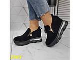 Сникерсы кроссовки черные с танкеткой на платформе со змейкой 36, 37, 38, 39, 41 р. (2303), фото 8