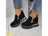 Сникерсы кроссовки черные с танкеткой на платформе со змейкой 36, 37, 38, 39, 41 р. (2303), фото 6