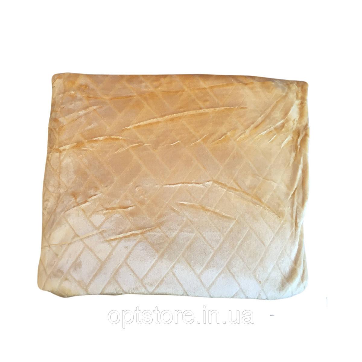 Персиковый плед двуспальный размер 180*220 ткань микрофибра