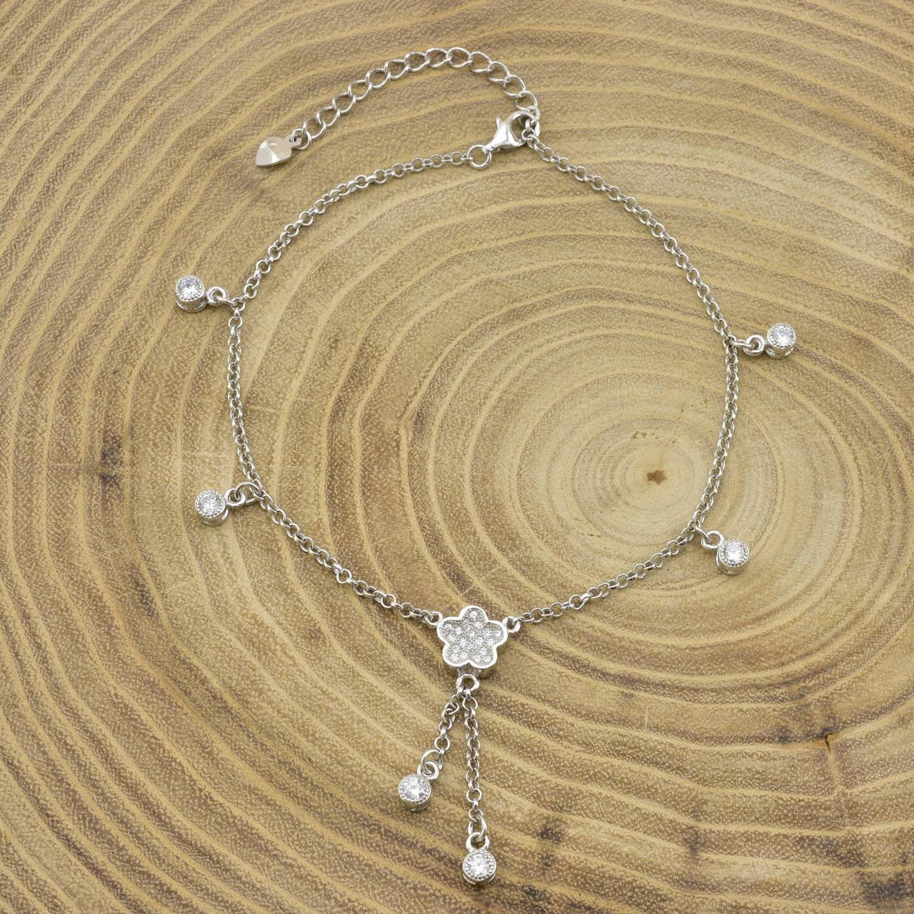 Серебряный браслет на ногу длина 22+4 см ширина 9 мм вставка белые фианиты вес серебра 5.45 г