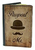 Оригинальная обложка на паспорт, обкладинка для паспорта IdeaX Джентльмен, натуральная кожа