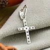 Серебряный крестик Эллада размер 25х10 мм вставка черные фианиты вес 0.7 г, фото 2