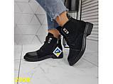 Ботинки деми на низком каблуке на шнуровке 36, 39, 41 р. (2308), фото 4