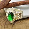 Серебряное кольцо Ретро вставка зеленый фианит вес 4.96 г размер 21, фото 2