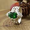 Серебряное кольцо Ретро вставка зеленый фианит вес 4.96 г размер 21, фото 3