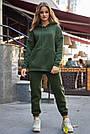Толстовка з капюшоном жіноча на флісі хакі, фото 5