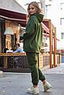 Толстовка з капюшоном жіноча на флісі хакі, фото 6