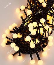 Гірлянда кульки 100LED, Теплий білий колір, Чорний дріт, 6метров, 10мм лампочка