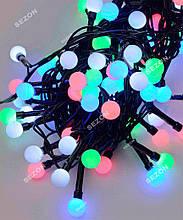 Гірлянда кульки 200LED, Мультик колір, Чорний дріт, 10метров, 10мм лампочка