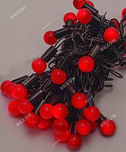 Гірлянда кульки 40LED, Червоний колір, Чорний дріт, 7метрів+перехідник, 18мм лампочка
