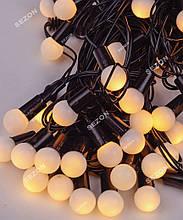 Гірлянда кульки 40LED, Теплий білий колір, Чорний дріт, 7метрів+перехідник, 18мм лампочка