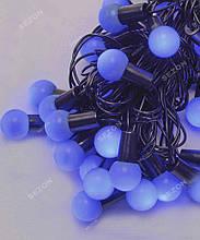 Гірлянда кульки 40LED, Синій колір, Чорний дріт, 7метрів+перехідник, 18мм лампочка
