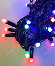 Гірлянда пальчик 40LED, Мультик колір, черый провід, 7м+перехідник