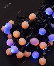Гірлянда кульки 40LED, Жовто-синій колір, Чорний дріт, 7метрів+перехідник, 18мм лампочка