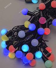 Гірлянда кульки 40LED, RGB колір, Чорний дріт, 7метрів+перехідник, 18мм лампочка