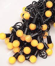 Гірлянда кульки 40LED, Жовтий колір, Чорний дріт, 7метрів+перехідник, 18мм лампочка