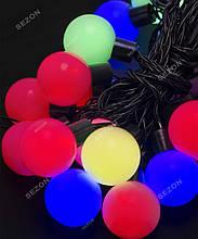 Гірлянда кульки 20LED, Мультик колір, Чорний дріт, 7метрів+перехідник, 42мм кулька