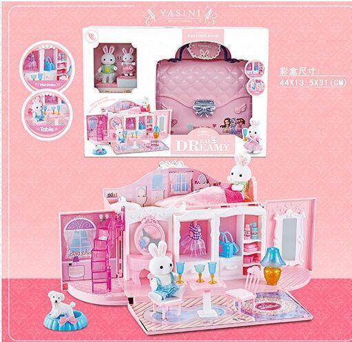 Будиночок - сумочка з зайчиками (для фігурок поні, ляльок LOL) арт. 6629