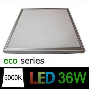 Комплект светодиодная LED панель 600х600 мм ВСТРАИВАЕМАЯ 36Вт 5000К + рамка для накладного монтажа серия ЕСО
