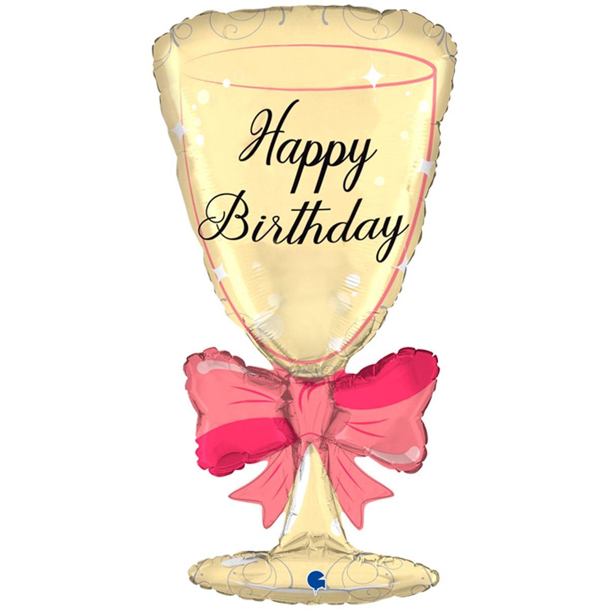 """G 36"""" hb бокал с бантом. Фольгированный шар бокал С Днем рождения. В уп"""