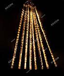 Гирлянда штора палочки 8штук по 50см, 3м х 0,5м, Теплый белый цвет, фото 4