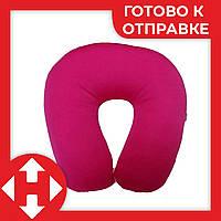 Подушка-подголовник для перелета Memory Foam Travel Pillow - Светло-розовая, с доставкой по Киеву и Украине, фото 1