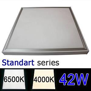 Комплект LED панель 600х600 мм 42Вт 4000-4500K/6000-6500К + рамка для накладного монтажа серия STANDART
