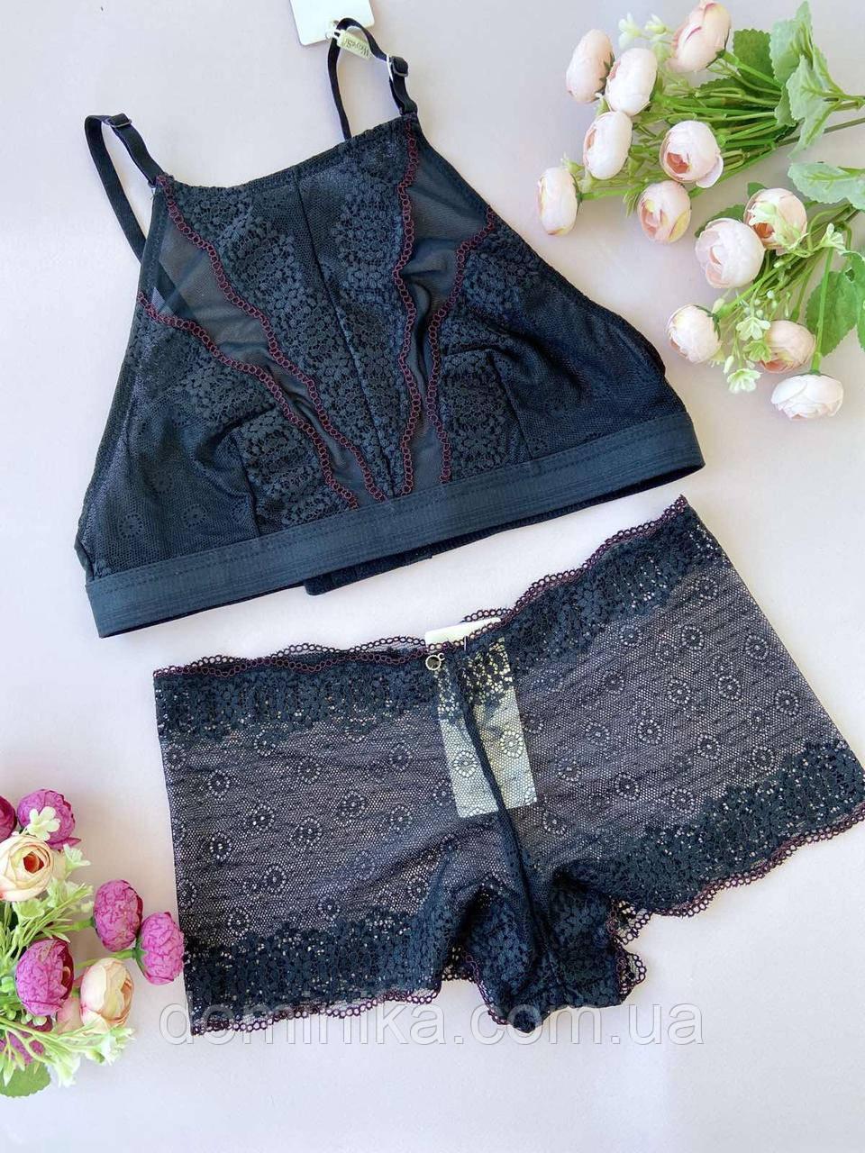 80В Красивый черный комплект женского нижнего белья, холтер-бра с трусиками