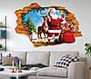 Интерьерная новогодняя наклейка  Санта-Клаус 3D (70х50см)