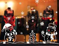 Новогодняя наклейка  Снеговики  (110х80см), фото 1