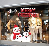Новогодняя наклейка снеговики  (90х70см), фото 1