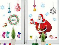 Новогодняя наклейка Дед Мороз  (120х110см), фото 1