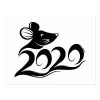 Новогодняя наклейка 2020  (40х30см) цвет черный