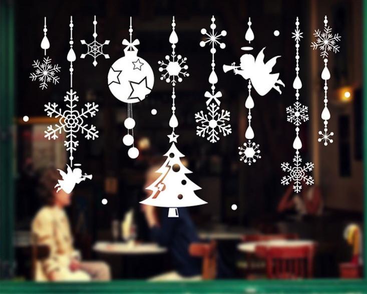 Новогодняя виниловая 3D наклейка для декора снежинки  (110х70см)