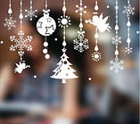 Новогодняя виниловая 3D наклейка для декора снежинки  (110х70см), фото 5