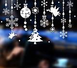Новогодняя виниловая 3D наклейка для декора снежинки  (110х70см), фото 6