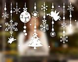 Новогодняя виниловая 3D наклейка для декора снежинки  (110х70см), фото 8