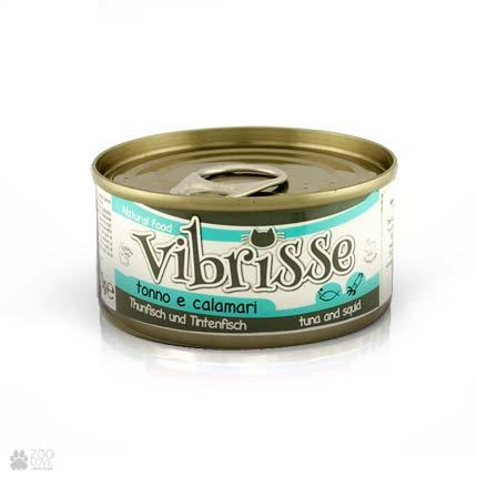 Консервированный корм для кошек VIBRISSE с кальмаром и тунцом , 70 г
