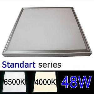 Комплект LED панель 600х600 мм 48Вт 4000-4500К/6000-6500К + рамка для накладного монтажа серия STANDART